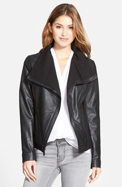 'Luisa' Knit Panel Drape Front Leather Jacket by T Tahari in Scandal