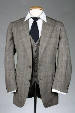 Grayish Brown Check Windowpane 100% Wool 3 Piece Suit by Austin Reed in Get On Up