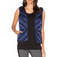 Mesh Inset Satin Puffer Vest by Blanc Noir in Gilmore Girls: A Year in the Life