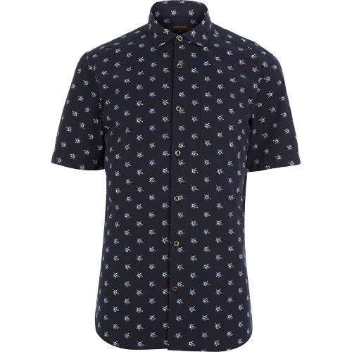 Navy Star Print Short Sleeve Shirt by River Island in Hall Pass