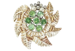 Jomaz Faux-Peridot & Pearl Brooch by Carrie's Couture in The Good Wife