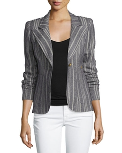 Duchess Tweed Single-Button Blazer with Suede Elbow Patches by Smythe in Arrow