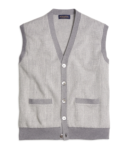 Cotton Cashmere Glen Plaid Vest by Brooks Brothers in The Flash - Season 2 Episode 3