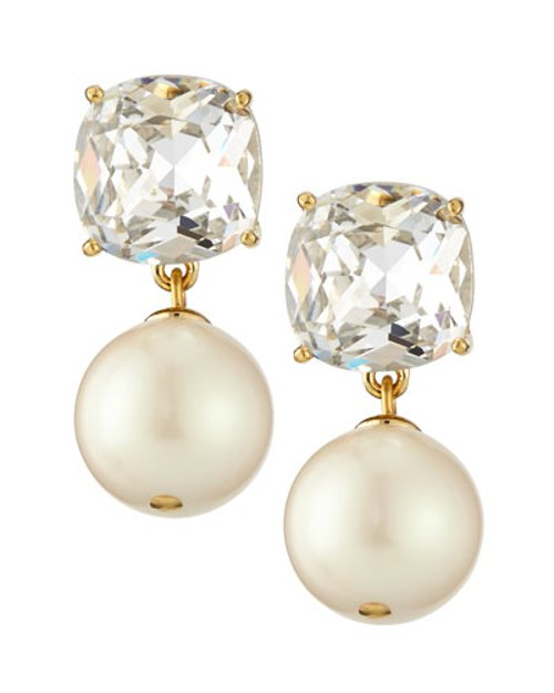 Faux Pearl and Crystal Drop Earrings by Kate Spade New York in Crazy, Stupid, Love.