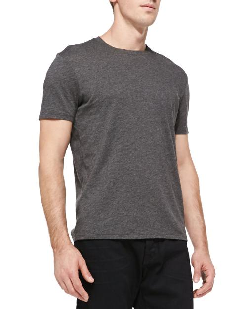 Jersey Crewneck Tee, Heather Carbon by Vince in Neighbors
