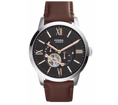 'Townsman' Automatic Leather Strap Watch by Fossil in A Bigger Splash