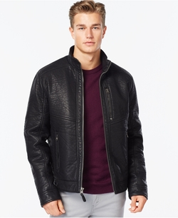 Faux-Leather Moto Jacket by Calvin Klein in The Departed