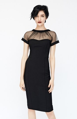Illusion Yoke Crepe Sheath Dress by Maggy London in Pretty Little Liars