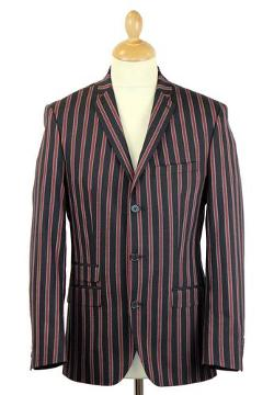 MENS RETRO SIXTIES MOD 3 BUTTON STRIPE BOATING BLAZER by SCOTT in Jersey Boys