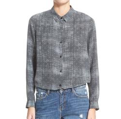 Fuzzy Star Print Silk Shirt by The Kooples in Arrow