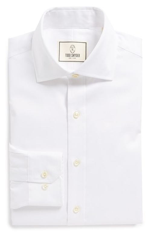 Trim Fit Solid Dress Shirt by Todd Snyder White Label in Fight Club