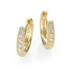 Diamond & 18K Yellow Gold Hoop Earrings by Jude Frances in New Year's Eve