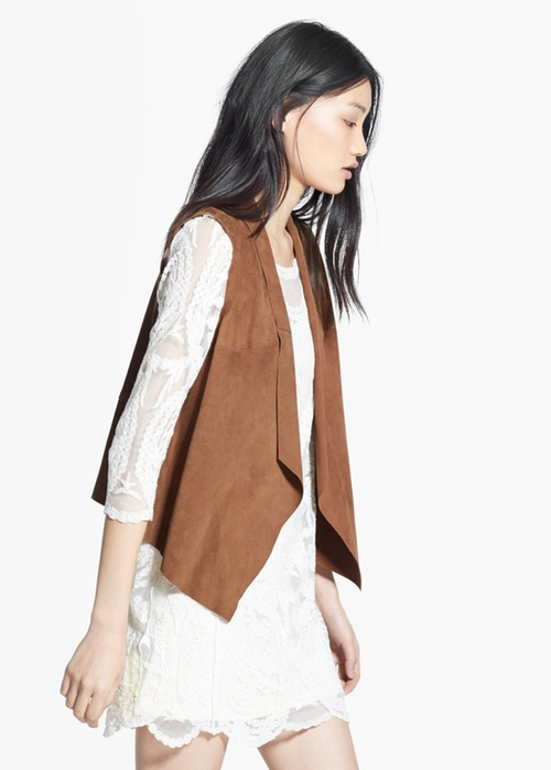 Suede Waterfall Gilet by Mango in Spy