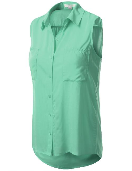 Women's Sleeveless Button Down Blouse by J.TOMSON in Blended