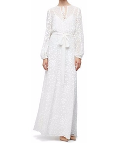 Long-Sleeve Floral-Embroidered Maxi Peasant Dress by Co in Crazy Ex-Girlfriend