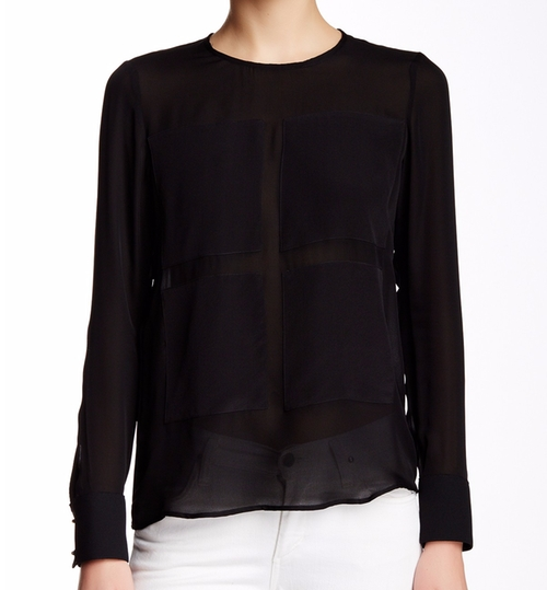 Long Sleeve Contrast Patch Silk Blouse by Derek Lam 10 Crosby in Keeping Up With The Kardashians - Season 12 Episode 4