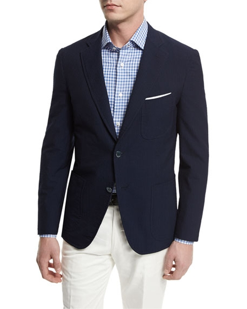 Seersucker Two-Button Sport Coat by Isaia in The Boss