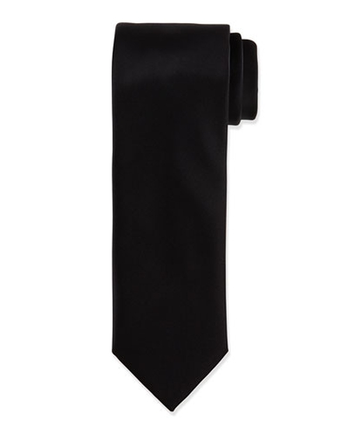 Solid Silk Satin Tie by Brioni in Sex and the City