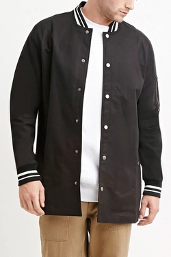Varsity-Striped Longline Jacket by 21 Men in Roadies