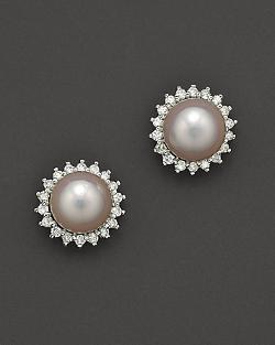 Cultured Pearl Earrings with Diamonds by Bloomingdale's in Yves Saint Laurent