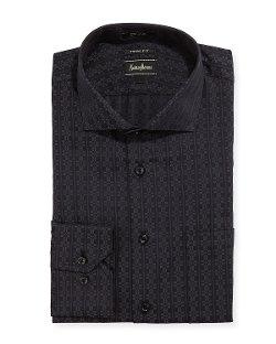 Regular-Finish Trim-Fit Geometric-Print Dress Shirt by Neiman Marcus in Blackhat