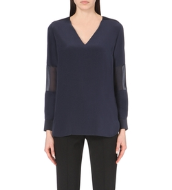 Sheer-Panel Silk Top by Paul Smith Black in Supergirl