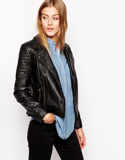 Gripey Leather Biker Jacket by Barneys in Sisters
