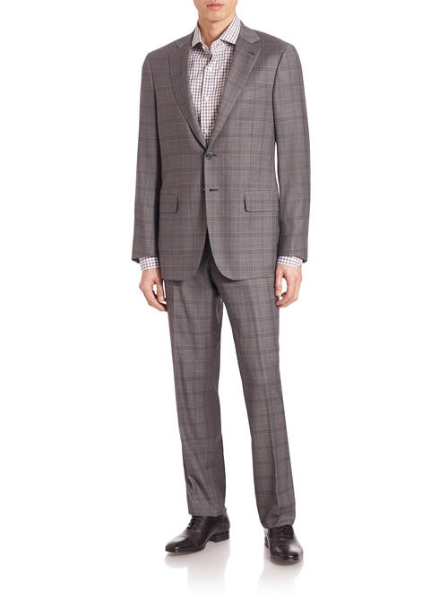 Windowpane Check Italian Wool Suit by Isaia in Empire - Season 3 Episode 2