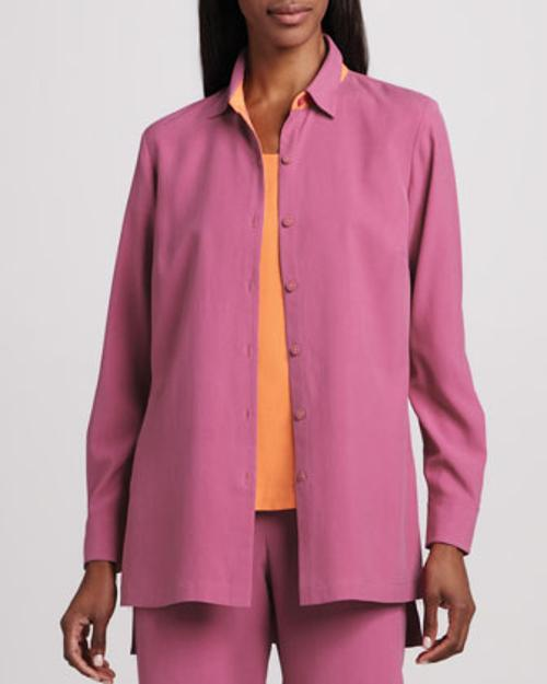Easy-Fit Colorblock Silk Shirt by Go Silk in Laggies
