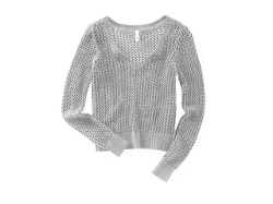 Solid Cable V Neck Knit Sweater by Aeropostale in The Visit