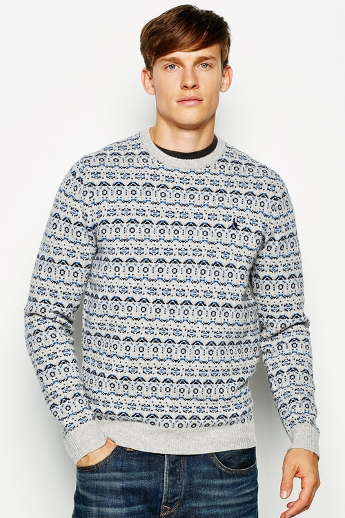 Jardelle Patterned Crew Neck Jumper by Jack Wills in Eddie The Eagle
