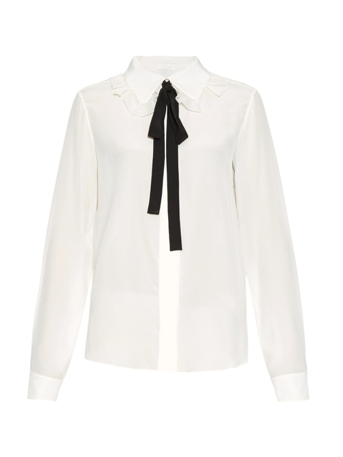 Ruffled Collar Silk Shirt by Chloe in Brooklyn