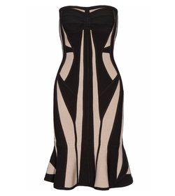 Two Tone Bandage Dress by Hervé Léger in Rosewood