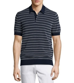 Textured-Stripe Polo Shirt by Michael Kors in Quantico