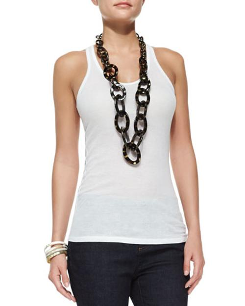 Project Sheer Ribbed Racerback Tank Top by Eileen Fisher in No Strings Attached