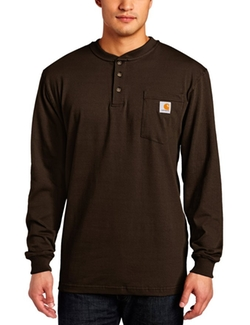 Men's Pocket Henley Long-Sleeve Shirt by Carhartt in Black-ish