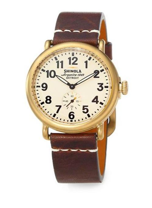 Runwell Goldtone PVD Stainless Steel & Leather Strap Watch by Shinola in Mortdecai