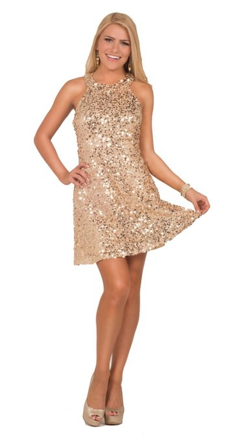 Womens Sequin Open Back Halter Neck Dress by Hot from Hollywood in The Loft