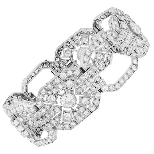 A Fine Art Deco Platinum Diamond Bracelet by Morelle Davidson in The Great Gatsby