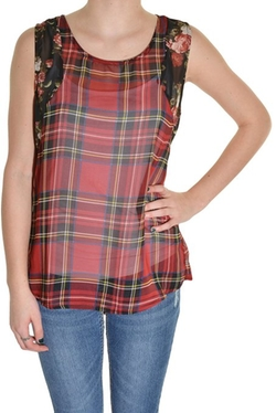 Chiffon Sheer Floral Plaid High Low Tank Top by Moon River in Bridesmaids