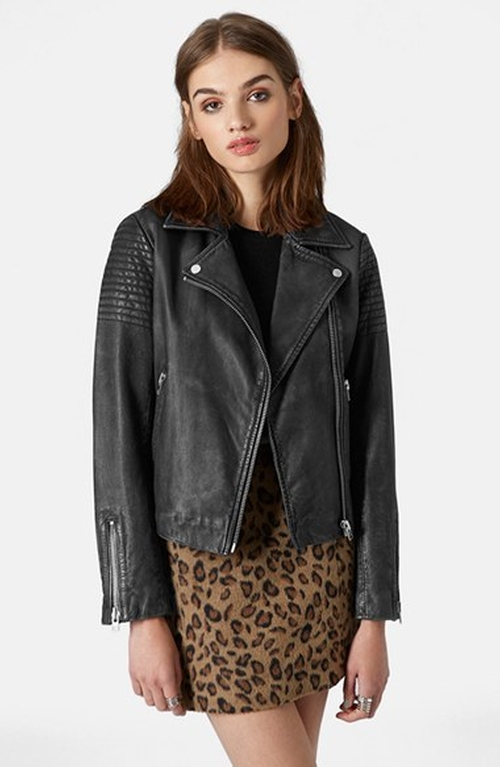 Sheepskin Leather Biker Jacket by Topshop in Scream Queens - Season 1 Episode 13
