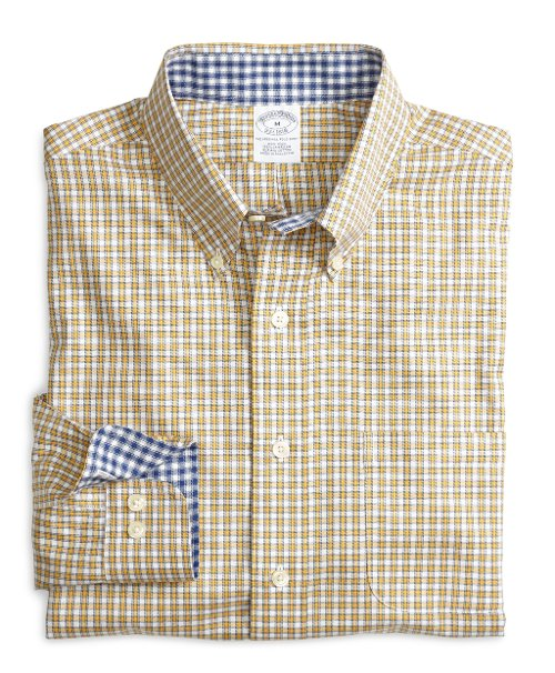 Non-Iron Slim Fit Framed Mini Check Sport Shirt by Brooks Brothers in The Best of Me