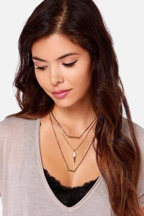 Mixed Metal Emotions Black and Gold Layered Necklace by Lulus in Crazy, Stupid, Love.