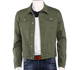 Men's Cropped Classic Denim Trucker Jacket by Plaid&Plain in The Defenders