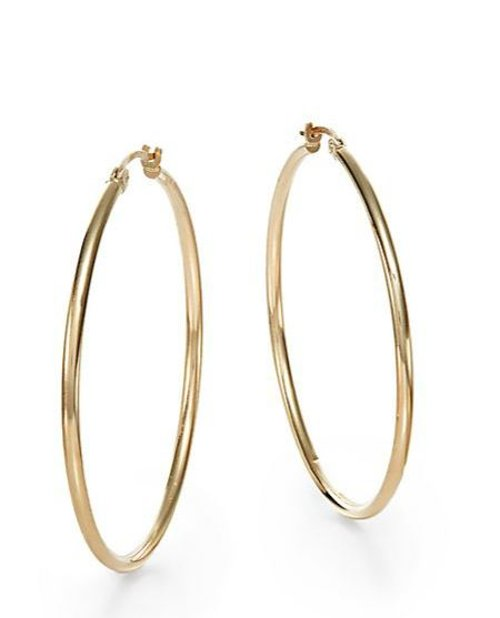 Gold Hoop Earrings by Saks Fifth Avenue in McFarland, USA