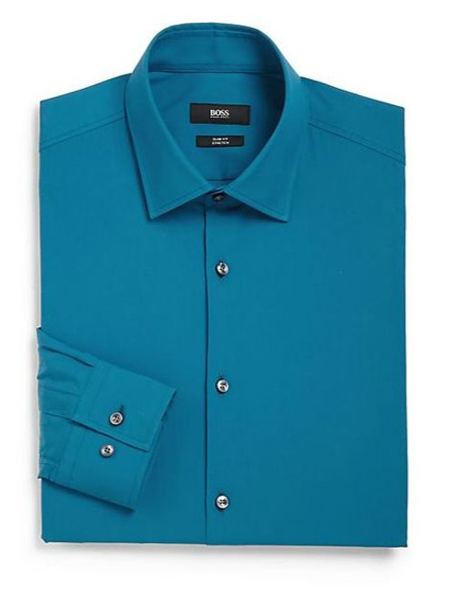 Stretch Cotton Dress Shirt by Boss Hugo Boss in Drive
