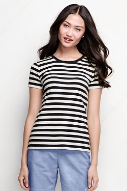 Women's Short Sleeve Crewneck T-Shirt by Lands' End in Me and Earl and the Dying Girl