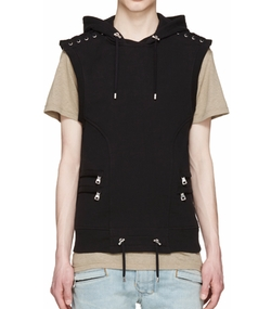 Sleeveless Lacing Hoodie by Balmain in Empire