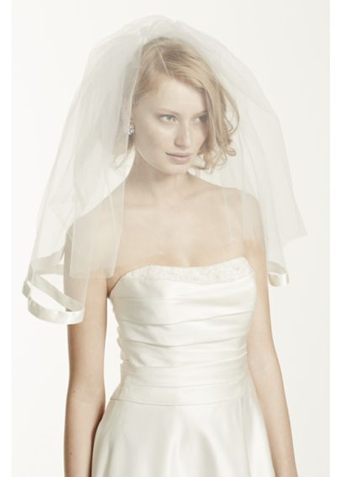 Satin Veil With Ribbon Trim And Blusher by David's Bridal in Confessions of a Shopaholic