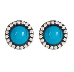 Turquoise and Swarovksi Crystal Halo Stud Earrings by Adornia in Pitch Perfect 3